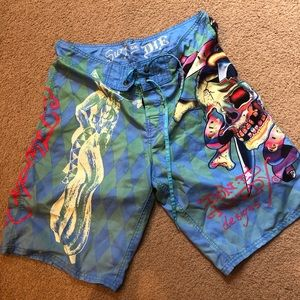 bdf31a62c4 Ed Hardy Surf or die swim board shorts 32
